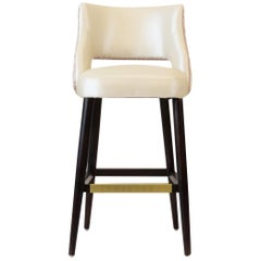 Modern Armless Bar or Counter Stool with Relaxed Backrest