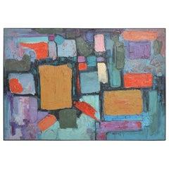 Modern Art Bold Cubist Abstract Oil on Canvas Vibrant Aqua & Purple Signed 1994