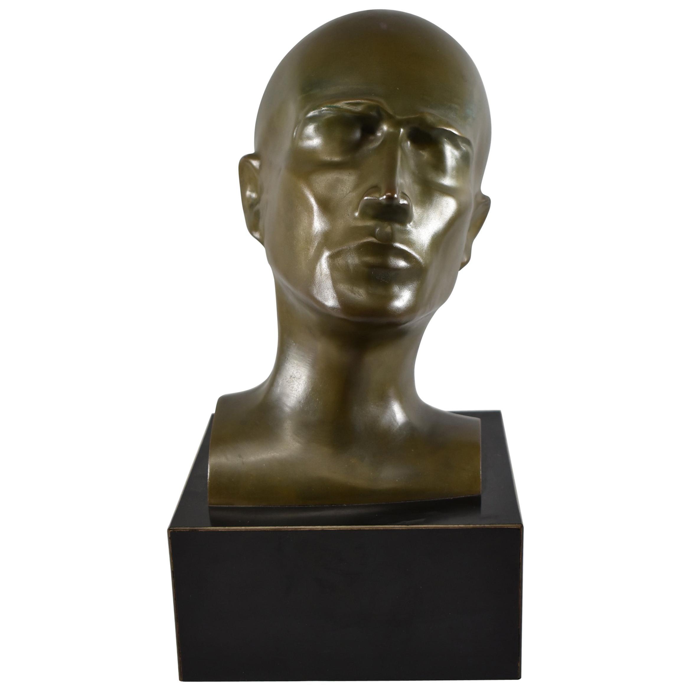 Modern Art Bronze Male Bust Sculpture T.B.-1