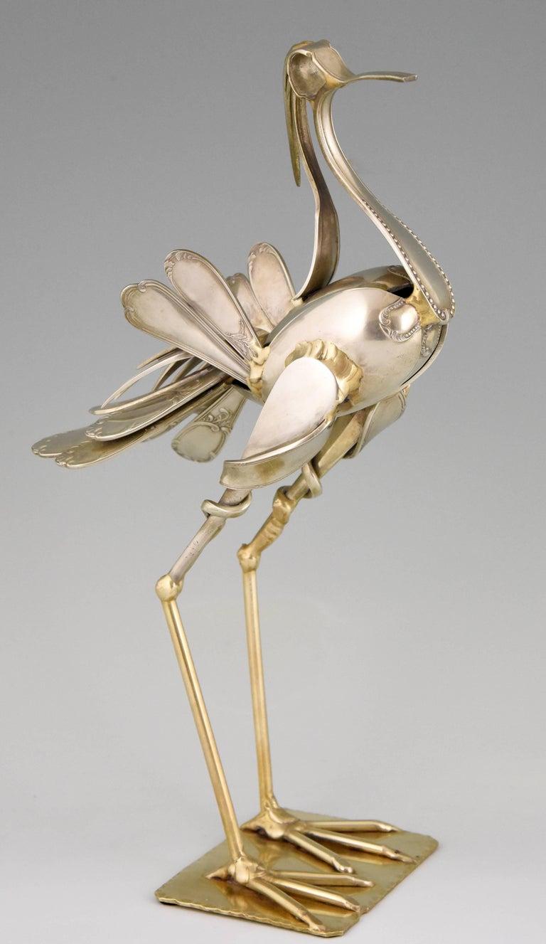 Mid-Century Modern Modern Art Cutlery Sculpture of a Bird by Gerard Bouvier, France, 1998