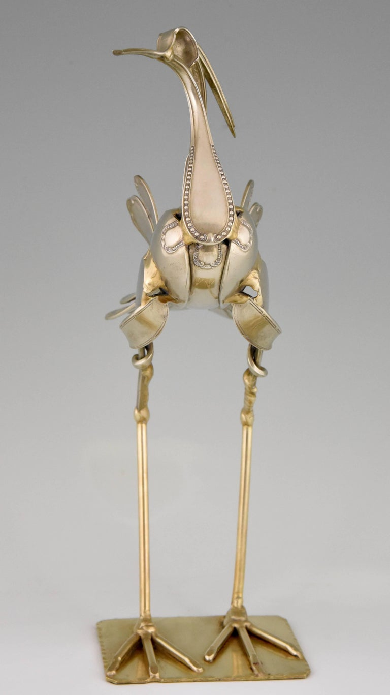 French Modern Art Cutlery Sculpture of a Bird by Gerard Bouvier, France, 1998