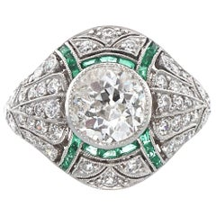 Art Deco Style 1+ Carat Diamond Emerald Platinum Engagement Ring