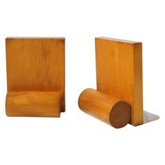 Modern Art Deco Blonde Wood Bookends, Pair
