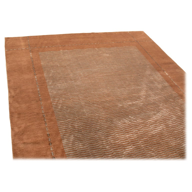 Vienna Wool Dhurrie: Modern Art Deco Blue And Brown Wool Rug With Secession