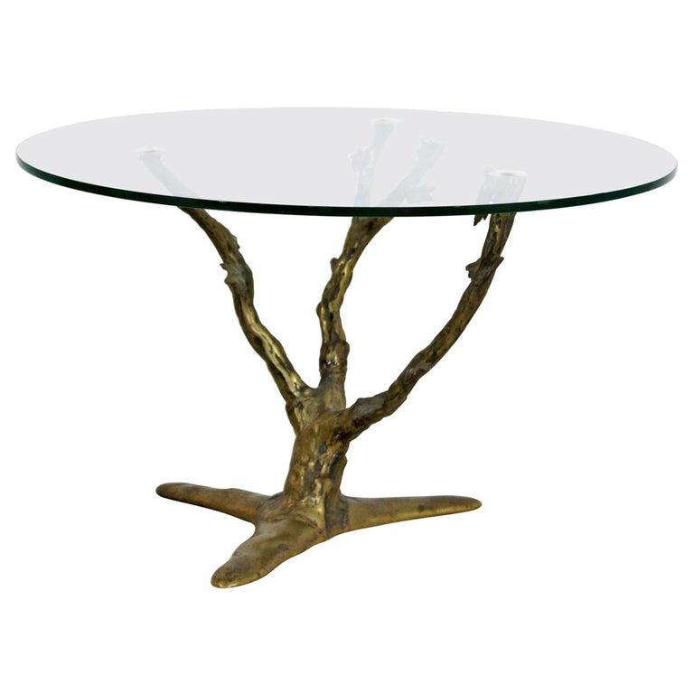 Modern Art Deco Cast Bronze Tree Limb Side End Table For