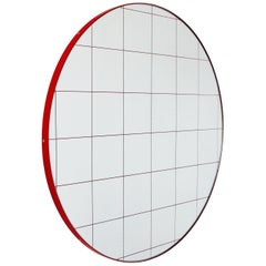 Orbis™ Red Grid Round Modern Mirror with Red Frame - Medium