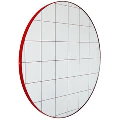 Modern Art Deco Decorative Round Orbis Mirror with Red Grid, Oversized