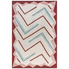 21st Century Art Deco Style Beige, Brown, Green and Pink Handmade Wool Rug