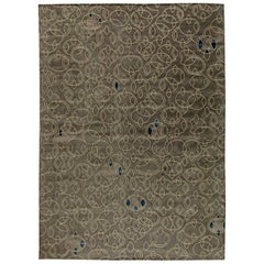 Modern Art Deco Design Hand Knotted Wool and Silk Rug in Taupe, Blue and Beige