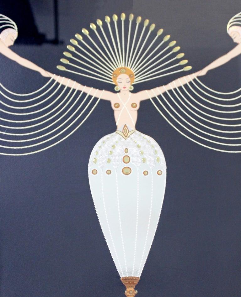 Late 20th Century Modern Art Deco Framed Serigraph Necklace Signed Erte 153/300 Gold Foil, 1992 For Sale