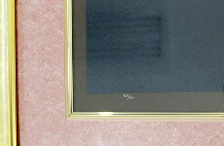 Paper Modern Art Deco Framed Serigraph Necklace Signed Erte 153/300 Gold Foil, 1992 For Sale