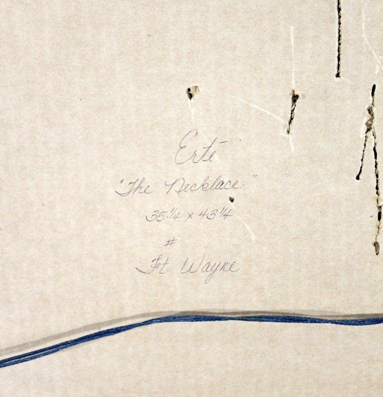 Modern Art Deco Framed Serigraph Necklace Signed Erte 153/300 Gold Foil, 1992 For Sale 2