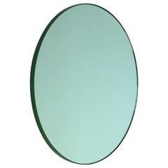 Modern Art Deco Green Tinted Orbis Round Oversized Mirror Green Frame