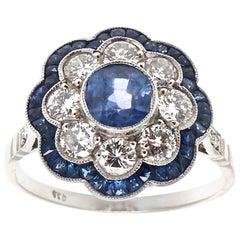 Modern Art Deco Inspired 0.86 Ct. Sapphire Diamond Platinum Flower Cluster Ring