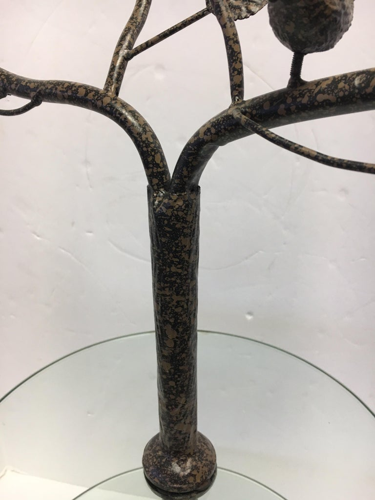 Late 20th Century Modern Art Deco Metal Tree Round Two-Tiered Glass Side Table For Sale