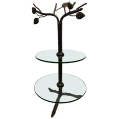 Modern Art Deco Metal Tree Round Two-Tiered Glass Side Table