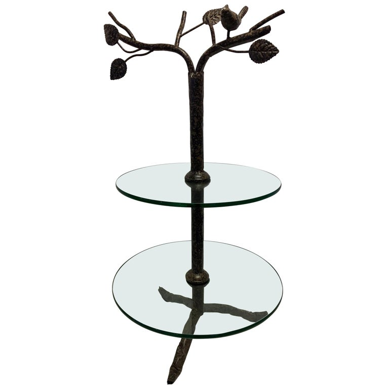 Modern Art Deco Metal Tree Round Two-Tiered Glass Side Table For Sale