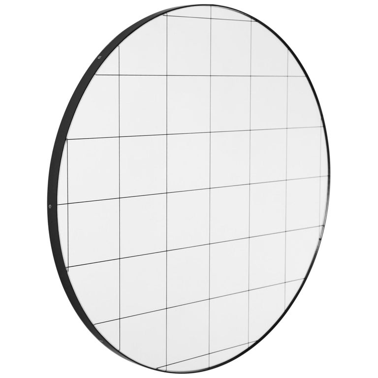 Modern Art Deco Orbis Round Mirror with Black Grid and Black Frame, Oversized For Sale