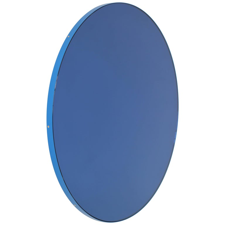 Orbis™ Blue Tinted Circular Mirror with a Contemporary Blue Frame - Oversized For Sale