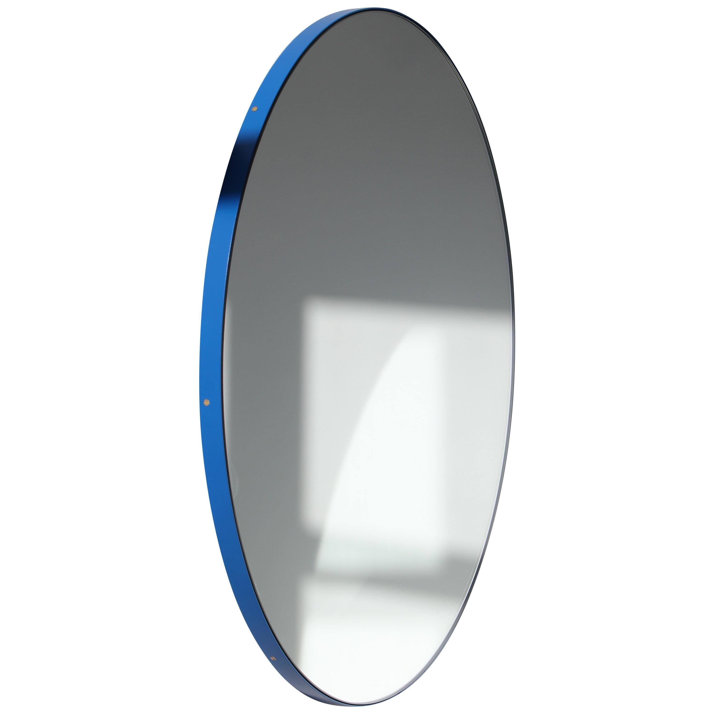 Orbis™ Round Modern Bespoke Mirror with Blue Frame - Oversized