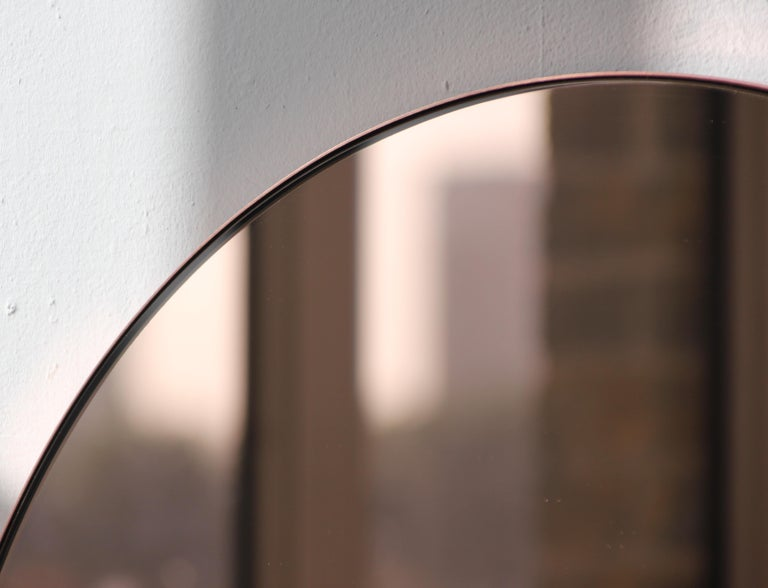 Modern Art Deco Orbis Round Rose Gold Tint Mirror with Copper Frame, Oversized For Sale 4