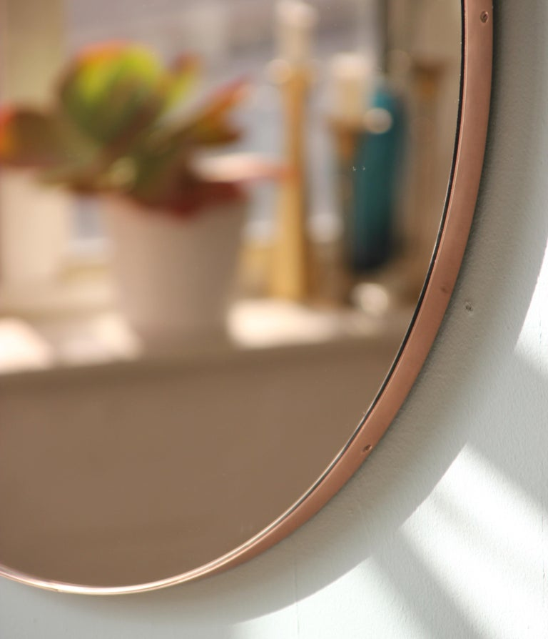 Modern Art Deco Orbis Round Rose Gold Tint Mirror with Copper Frame, Oversized For Sale 5