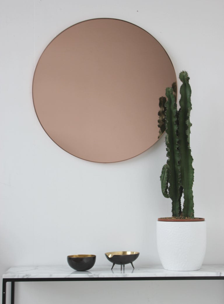 Organic Modern Modern Art Deco Orbis Round Rose Gold Tint Mirror with Copper Frame, Oversized For Sale