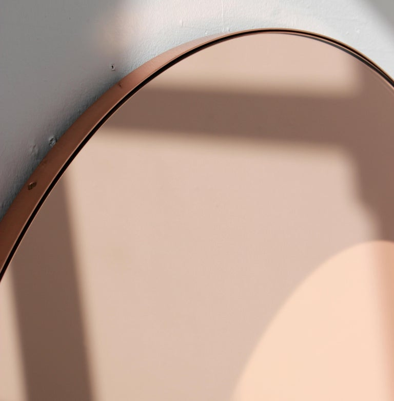 British Modern Art Deco Orbis Round Rose Gold Tint Mirror with Copper Frame, Oversized For Sale