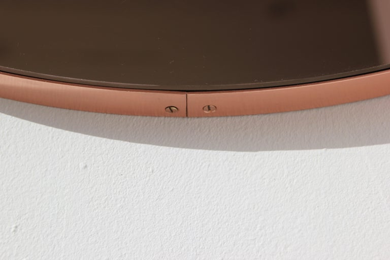 Modern Art Deco Orbis Round Rose Gold Tint Mirror with Copper Frame, Oversized In New Condition For Sale In London, GB
