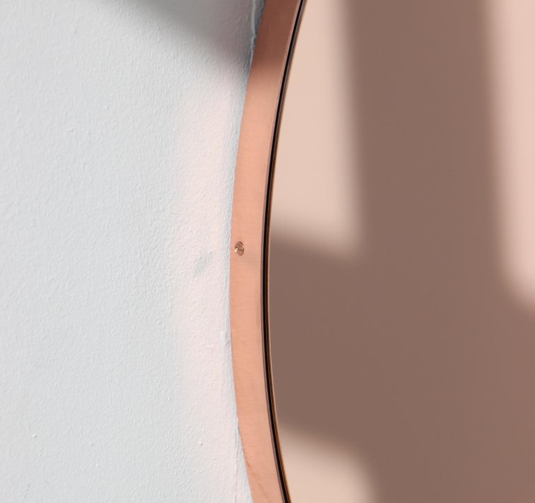 Modern Art Deco Orbis Round Rose Gold Tint Mirror with Copper Frame, Oversized For Sale 2