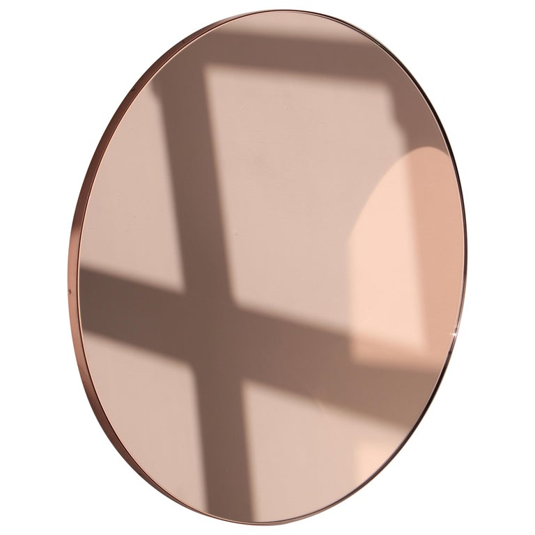 Modern Art Deco Orbis Round Rose Gold Tint Mirror with Copper Frame, Oversized For Sale