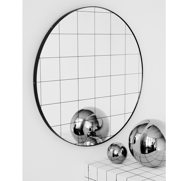 Organic Modern Modern Art Deco Orbis Round Mirror with Black Grid and Black Frame, Oversized For Sale