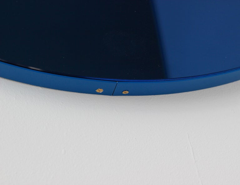 Orbis™ Blue Tinted Circular Mirror with a Contemporary Blue Frame - Oversized For Sale 3