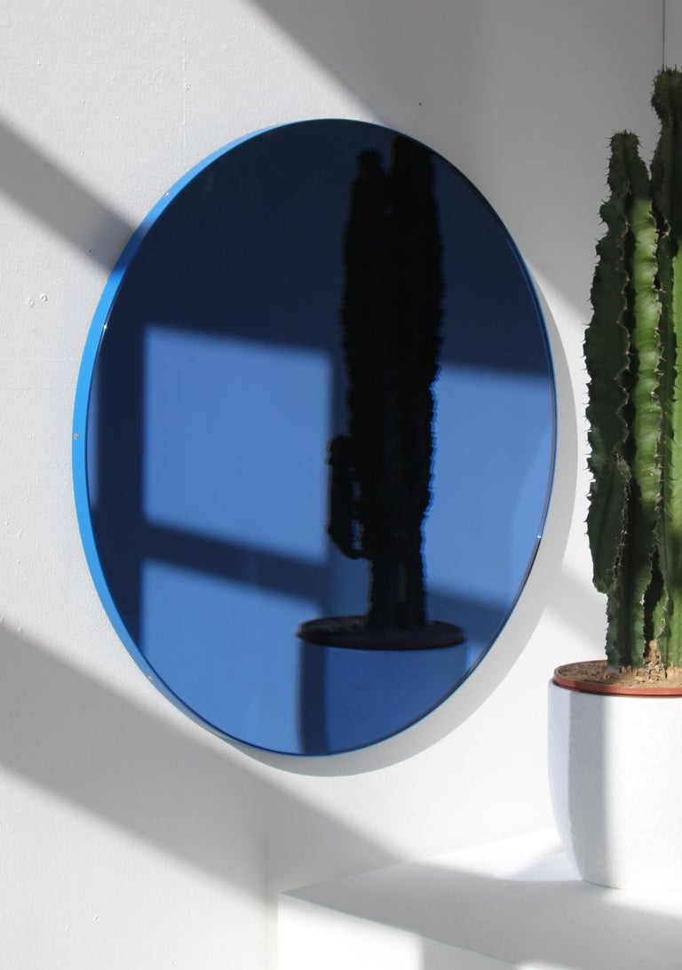 Organic Modern Orbis™ Blue Tinted Circular Mirror with a Contemporary Blue Frame - Oversized For Sale