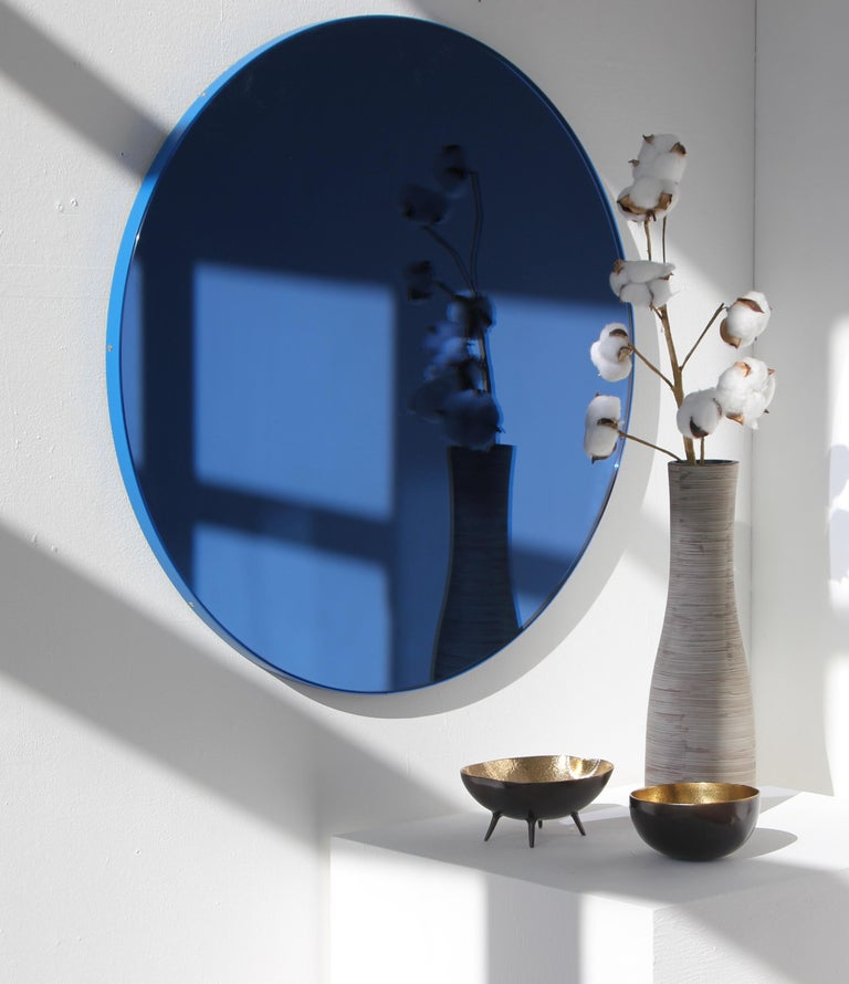 Powder-Coated Orbis™ Blue Tinted Circular Mirror with a Contemporary Blue Frame - Oversized For Sale