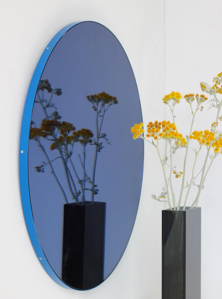 Orbis™ Blue Tinted Circular Mirror with a Contemporary Blue Frame - Oversized In New Condition For Sale In London, GB