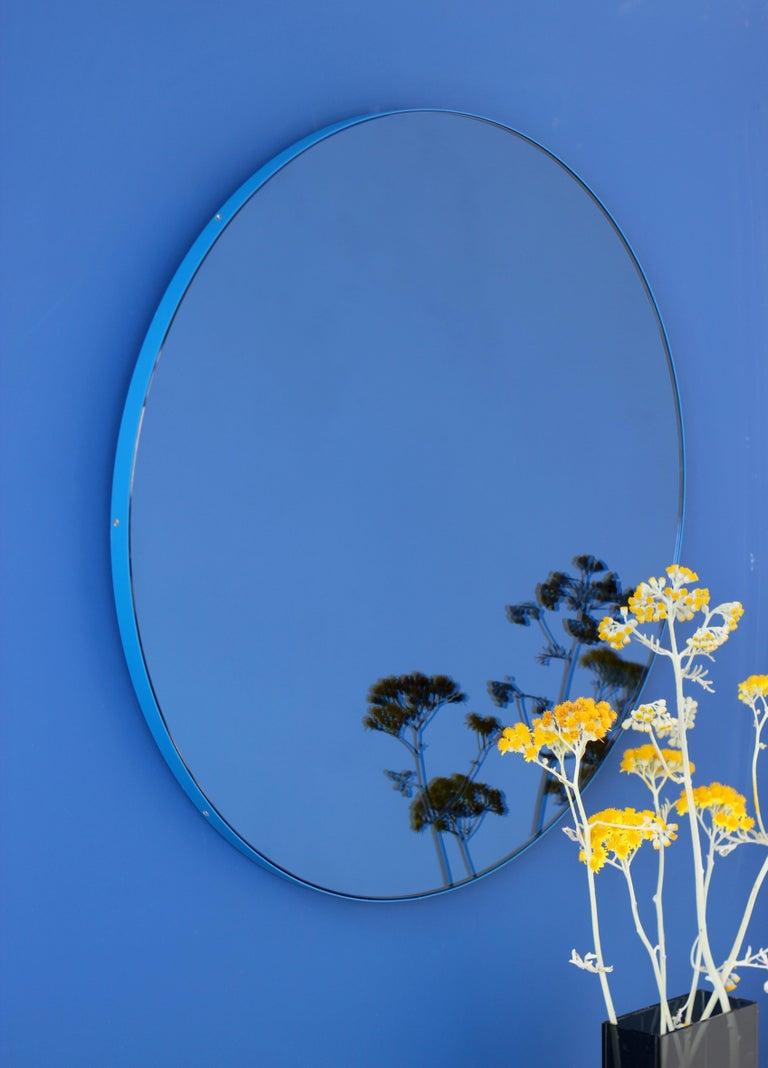 Aluminum Orbis™ Blue Tinted Circular Mirror with a Contemporary Blue Frame - Oversized For Sale