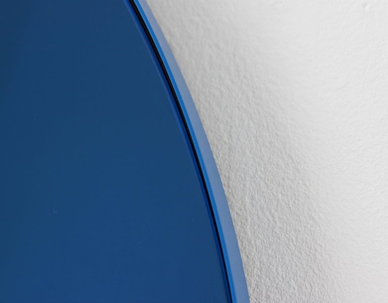 Orbis™ Blue Tinted Circular Mirror with a Contemporary Blue Frame - Oversized For Sale 1