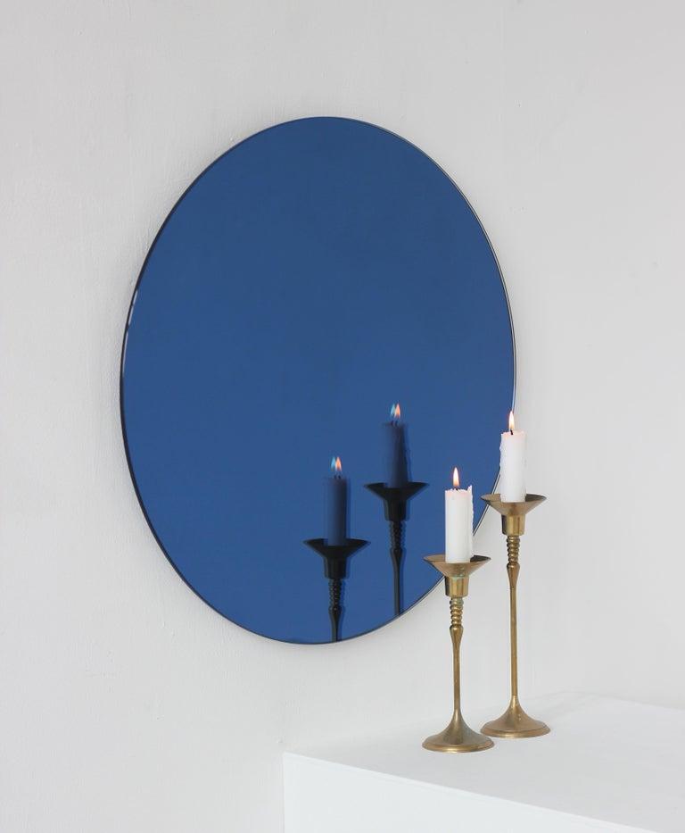 British Orbis™ Blue Tinted Round Bespoke Frameless Mirror - Oversized, Extra Large For Sale