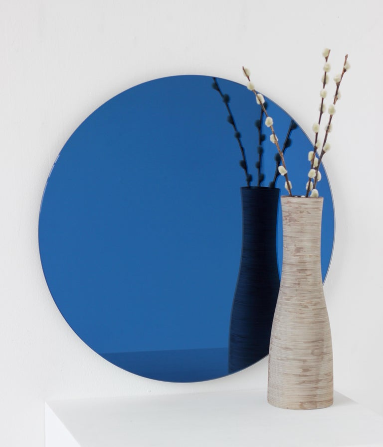 Contemporary Orbis™ Blue Tinted Round Bespoke Frameless Mirror - Oversized, Extra Large For Sale