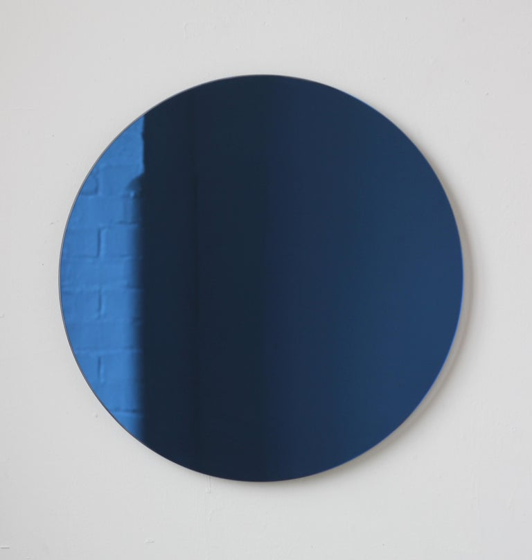 Orbis™ Blue Tinted Round Bespoke Frameless Mirror - Oversized, Extra Large For Sale 2