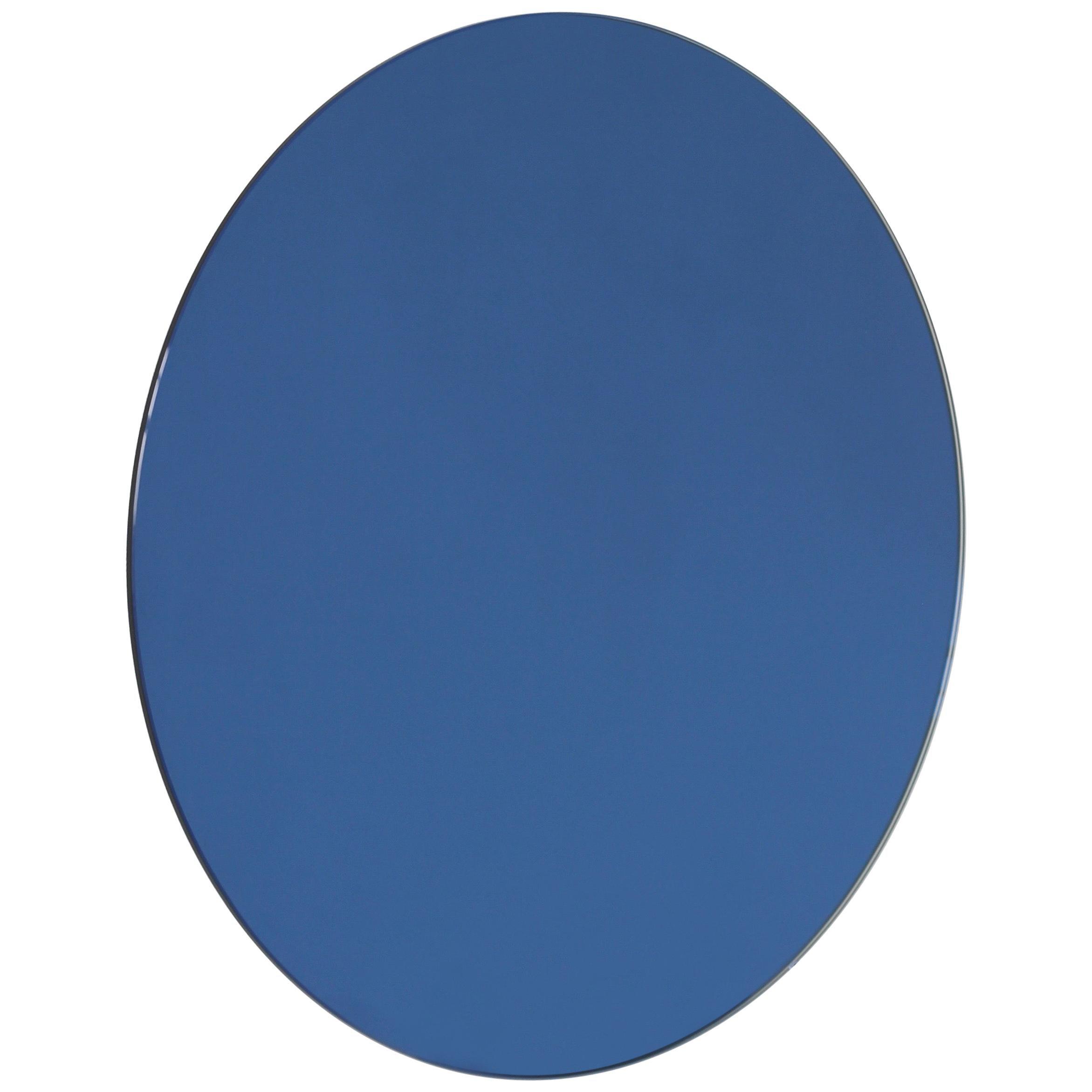 Orbis™ Blue Tinted Round Bespoke Frameless Mirror - Oversized, Extra Large