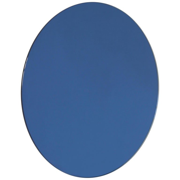 Orbis™ Blue Tinted Round Bespoke Frameless Mirror - Oversized, Extra Large For Sale