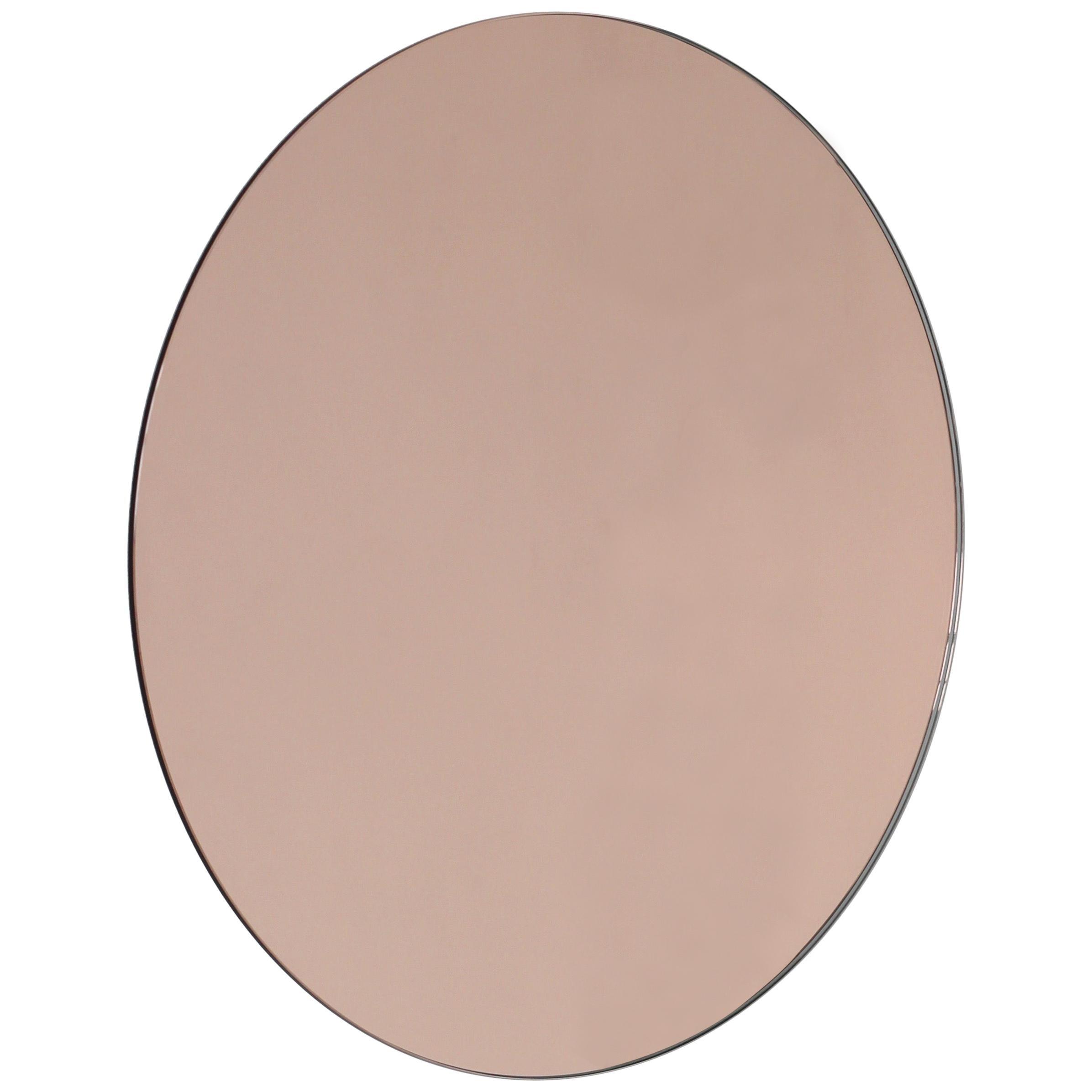 Orbis™ Rose / Peach Tinted Round Modern Frameless Mirror - Oversized,Extra Large