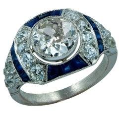 Modern Art Deco Style 1.71 Carat Old European Diamond Ring