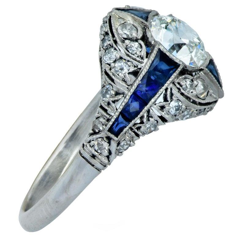Old European Cut Modern Art Deco Style .93 Carat Old European Diamond Ring For Sale