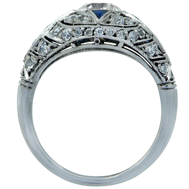 Modern Art Deco Style .93 Carat Old European Diamond Ring In Excellent Condition For Sale In Miami, FL