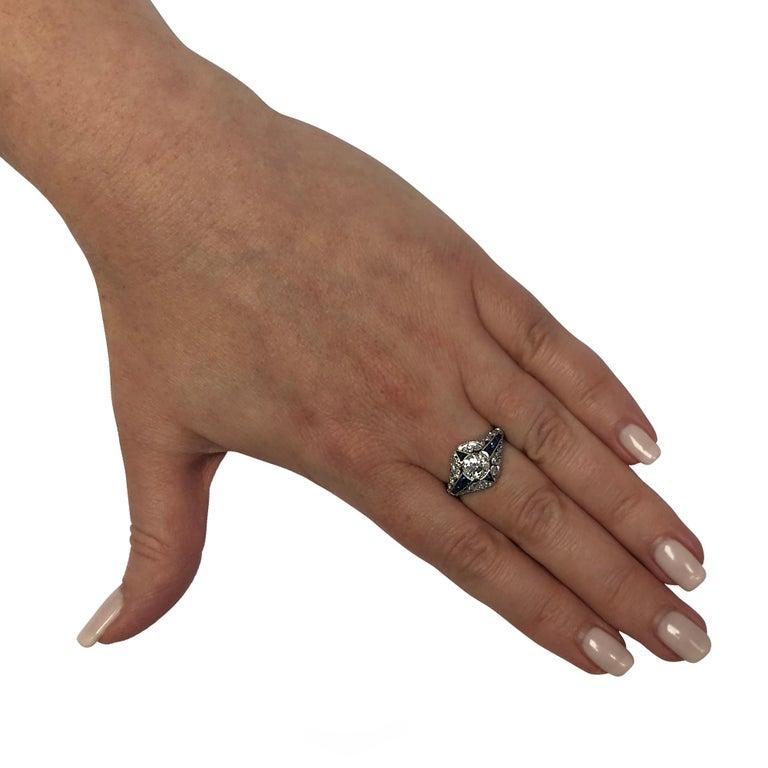 Women's Modern Art Deco Style .93 Carat Old European Diamond Ring For Sale