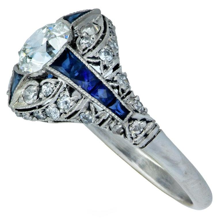 Modern Art Deco Style .93 Carat Old European Diamond Ring For Sale 1