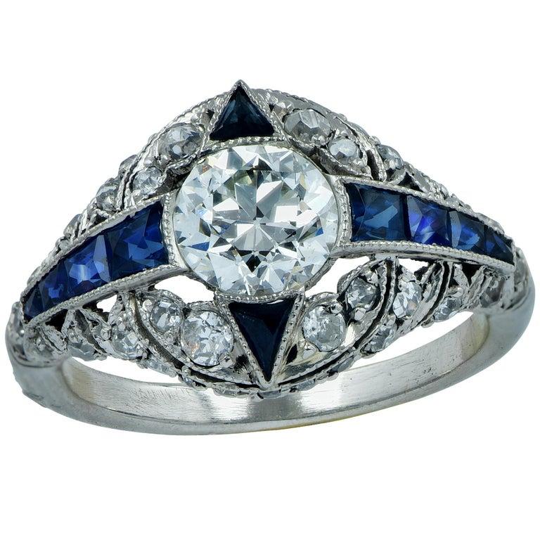 Modern Art Deco Style .93 Carat Old European Diamond Ring For Sale